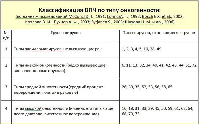 классификация впч по типу онкогенности
